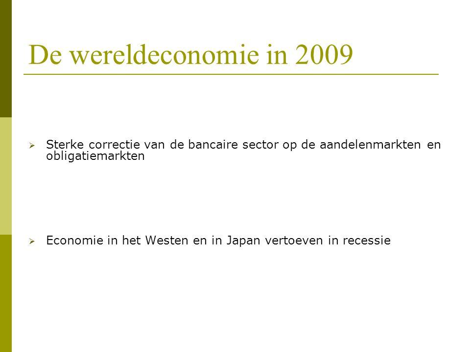 De wereldeconomie in 2009  Sterke correctie van de bancaire sector op de aandelenmarkten en obligatiemarkten  Economie in het Westen en in Japan vertoeven in recessie