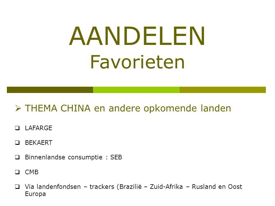 AANDELEN Favorieten  THEMA CHINA en andere opkomende landen  LAFARGE  BEKAERT  Binnenlandse consumptie : SEB  CMB  Via landenfondsen – trackers (Brazilië – Zuid-Afrika – Rusland en Oost Europa