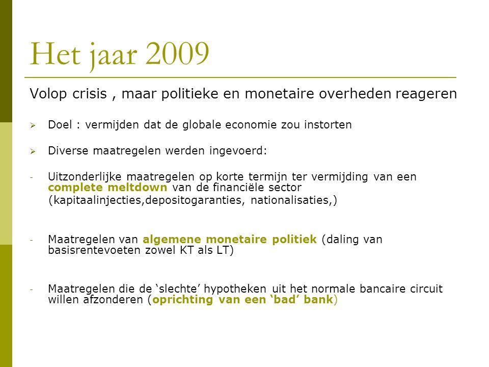 Het jaar 2009 Volop crisis, maar politieke en monetaire overheden reageren  Doel : vermijden dat de globale economie zou instorten  Diverse maatregelen werden ingevoerd: - Uitzonderlijke maatregelen op korte termijn ter vermijding van een complete meltdown van de financiële sector (kapitaalinjecties,depositogaranties, nationalisaties,) - Maatregelen van algemene monetaire politiek (daling van basisrentevoeten zowel KT als LT) - Maatregelen die de 'slechte' hypotheken uit het normale bancaire circuit willen afzonderen (oprichting van een 'bad' bank)