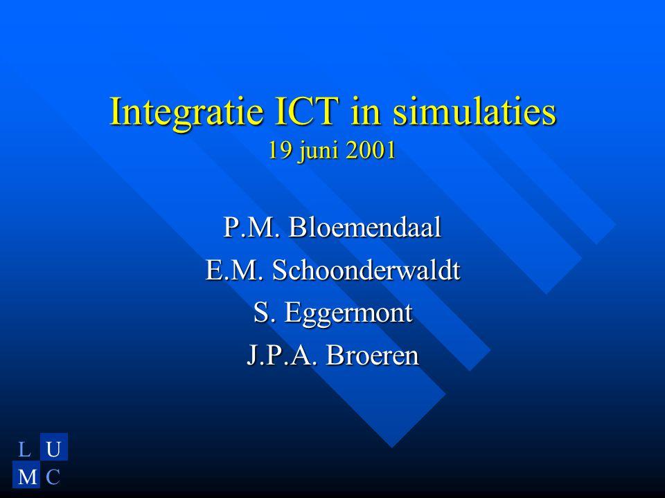 LU MC Integratie ICT in simulaties 19 juni 2001 P.M.