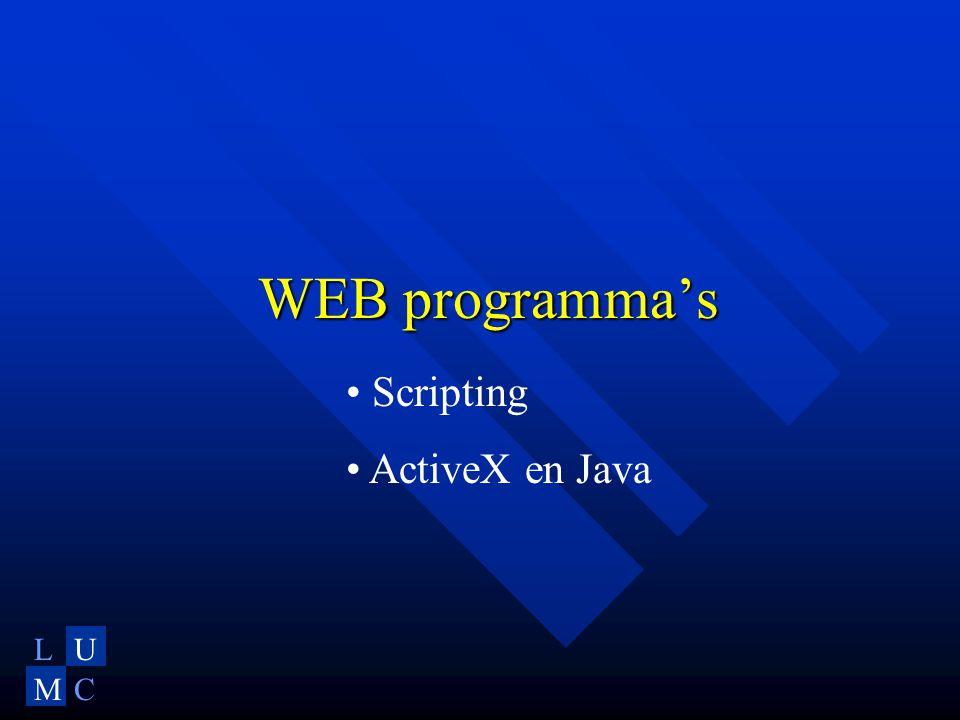 LU MC WEB programma's • Scripting • ActiveX en Java