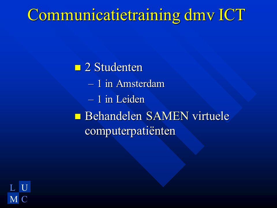 LU MC Communicatietraining dmv ICT  2 Studenten –1 in Amsterdam –1 in Leiden  Behandelen SAMEN virtuele computerpatiënten
