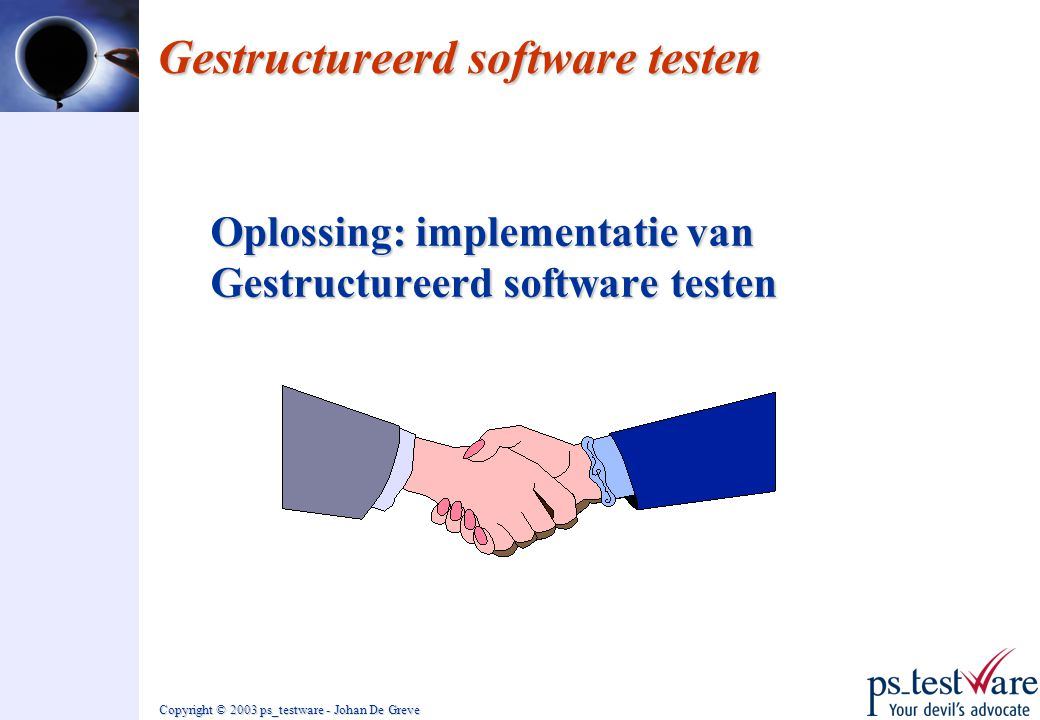 Copyright © 2003 ps_testware - Johan De Greve Gestructureerd software testen Oplossing: implementatie van Gestructureerd software testen