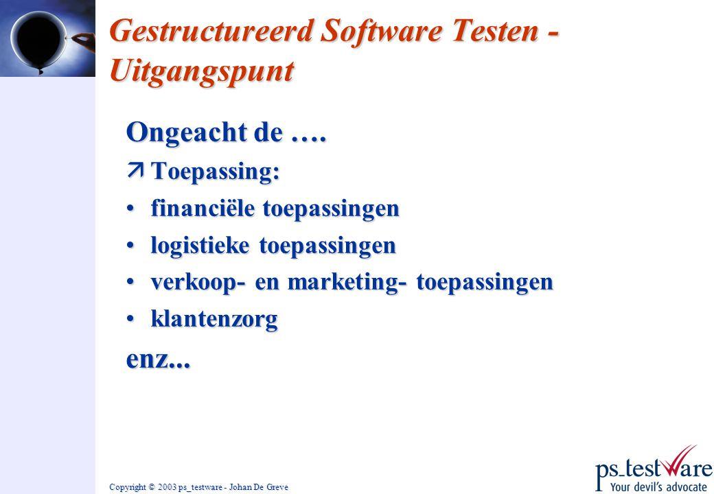 Copyright © 2003 ps_testware - Johan De Greve Gestructureerd Software Testen - Uitgangspunt Ongeacht de …. äToepassing: •financiële toepassingen •logi