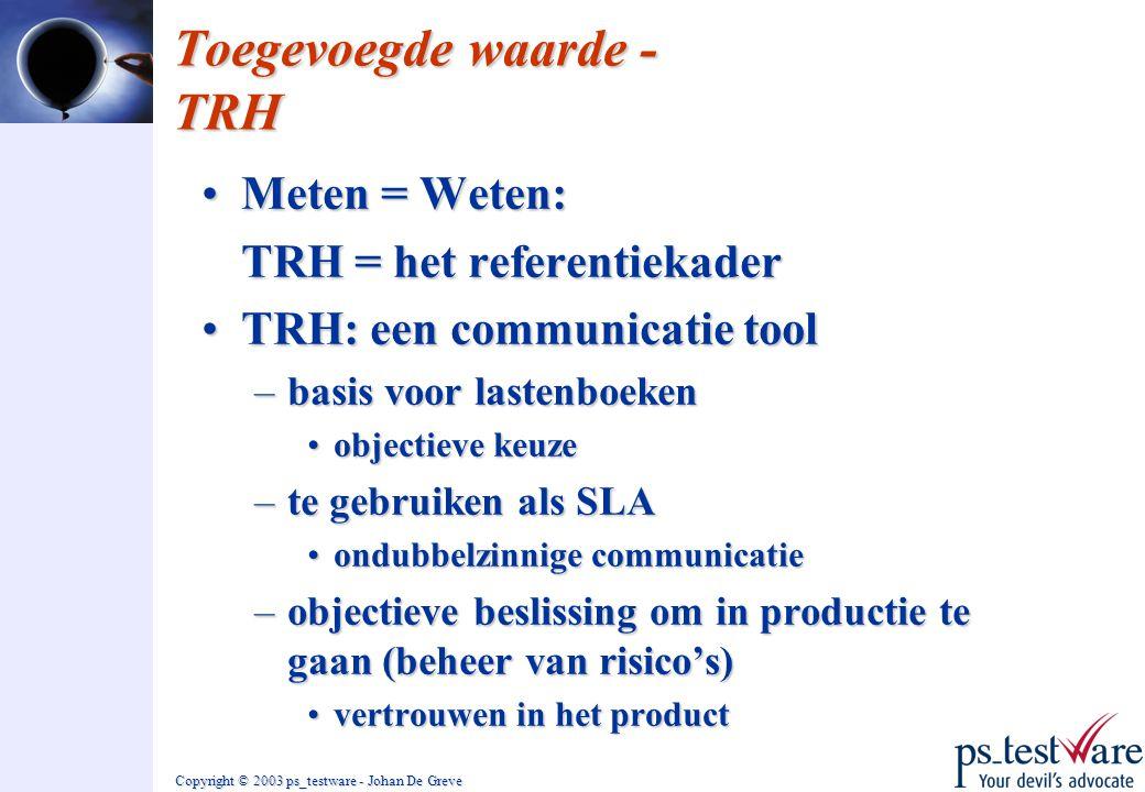 Copyright © 2003 ps_testware - Johan De Greve Toegevoegde waarde - TRH •Meten = Weten: TRH = het referentiekader •TRH: een communicatie tool –basis vo