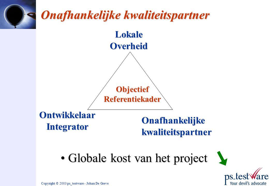 Copyright © 2003 ps_testware - Johan De Greve Onafhankelijke kwaliteitspartner Lokale Overheid OntwikkelaarIntegrator Onafhankelijke kwaliteitspartner