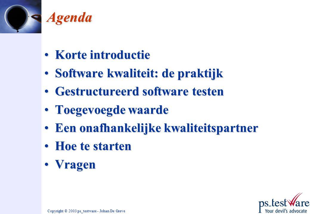 Copyright © 2003 ps_testware - Johan De Greve Agenda •Korte introductie •Software kwaliteit: de praktijk •Gestructureerd software testen •Toegevoegde