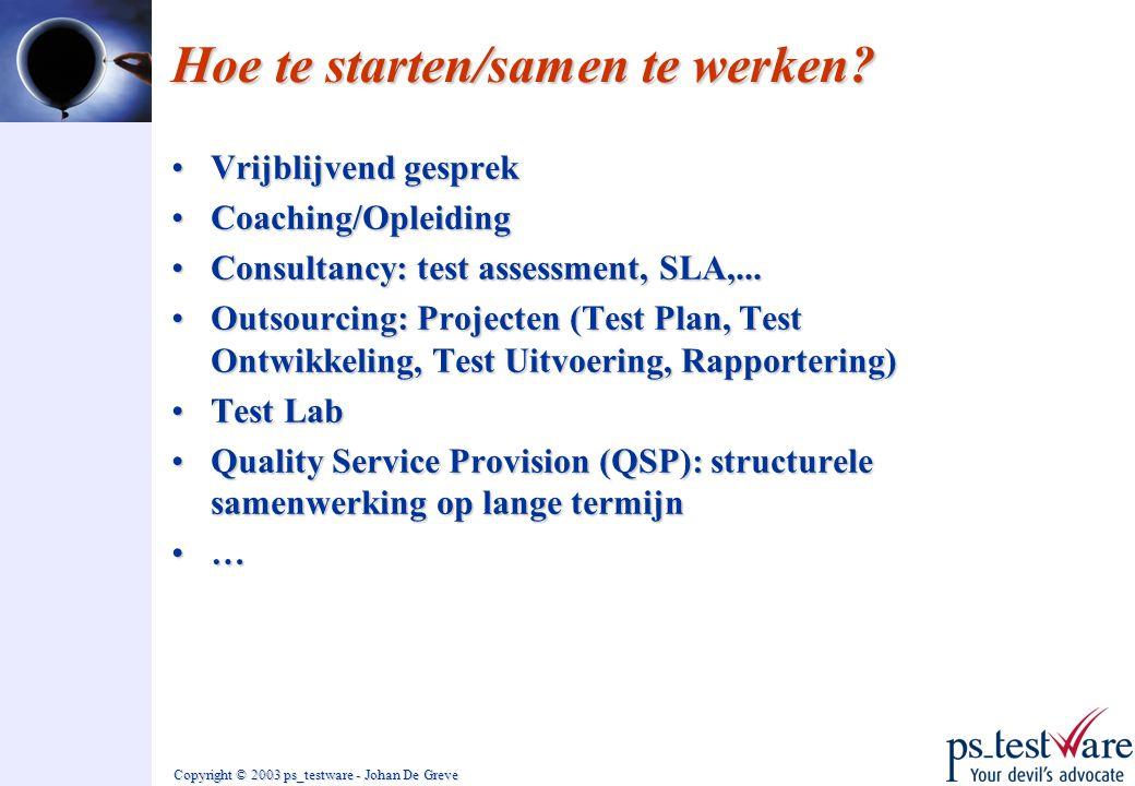 Copyright © 2003 ps_testware - Johan De Greve Hoe te starten/samen te werken? •Vrijblijvend gesprek •Coaching/Opleiding •Consultancy: test assessment,