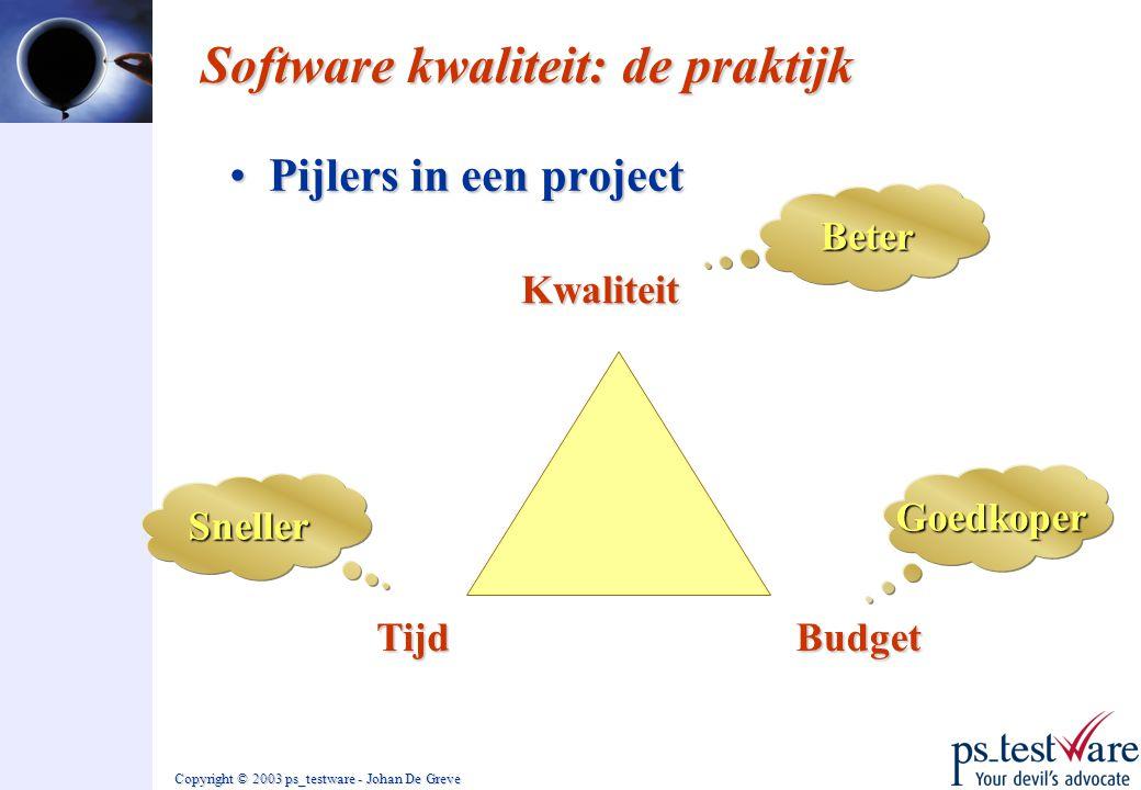 Copyright © 2003 ps_testware - Johan De Greve Software kwaliteit: de praktijk •Pijlers in een project Tijd Sneller Goedkoper Beter Budget Kwaliteit