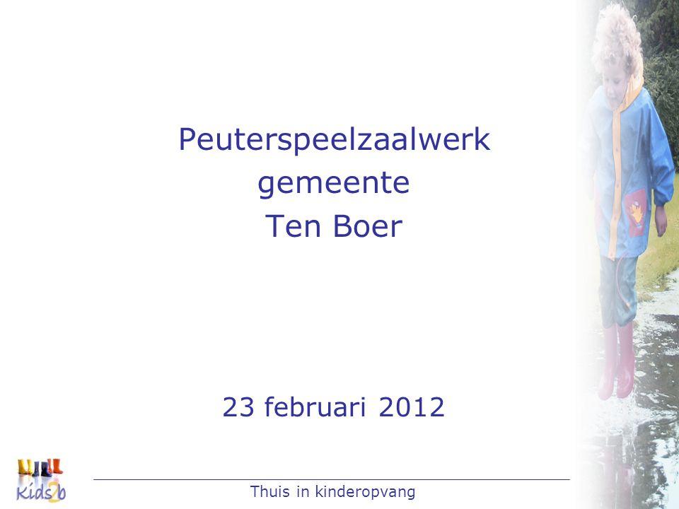 Thuis in kinderopvang Peuterspeelzaalwerk gemeente Ten Boer 23 februari 2012