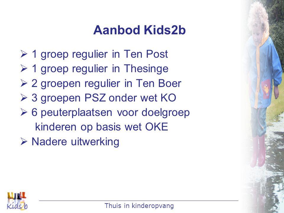 Thuis in kinderopvang Aanbod Kids2b  1 groep regulier in Ten Post  1 groep regulier in Thesinge  2 groepen regulier in Ten Boer  3 groepen PSZ ond