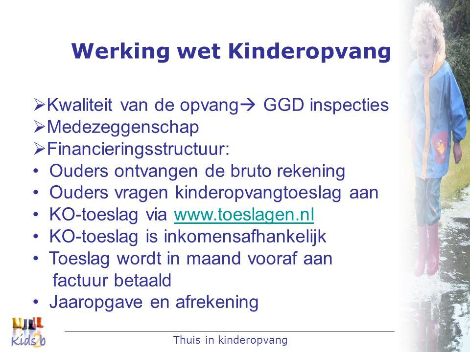 Thuis in kinderopvang Werking wet Kinderopvang  Kwaliteit van de opvang  GGD inspecties  Medezeggenschap  Financieringsstructuur: • Ouders ontvang