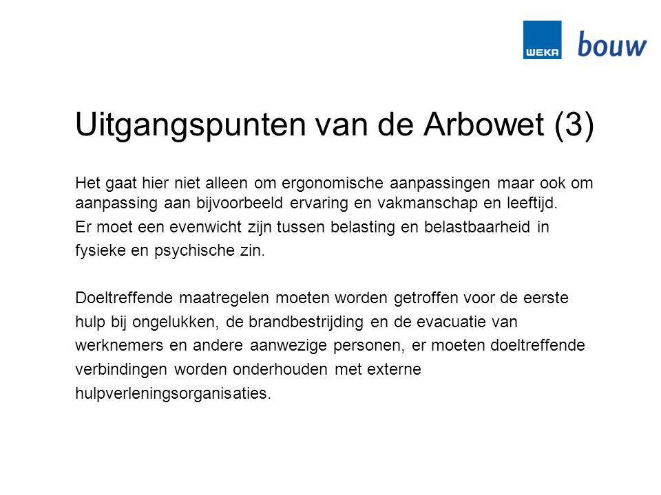 Uitgangspunten van de Arbowet (3) Het gaat hier niet alleen om ergonomische aanpassingen maar ook om aanpassing aan bijvoorbeeld ervaring en vakmansch