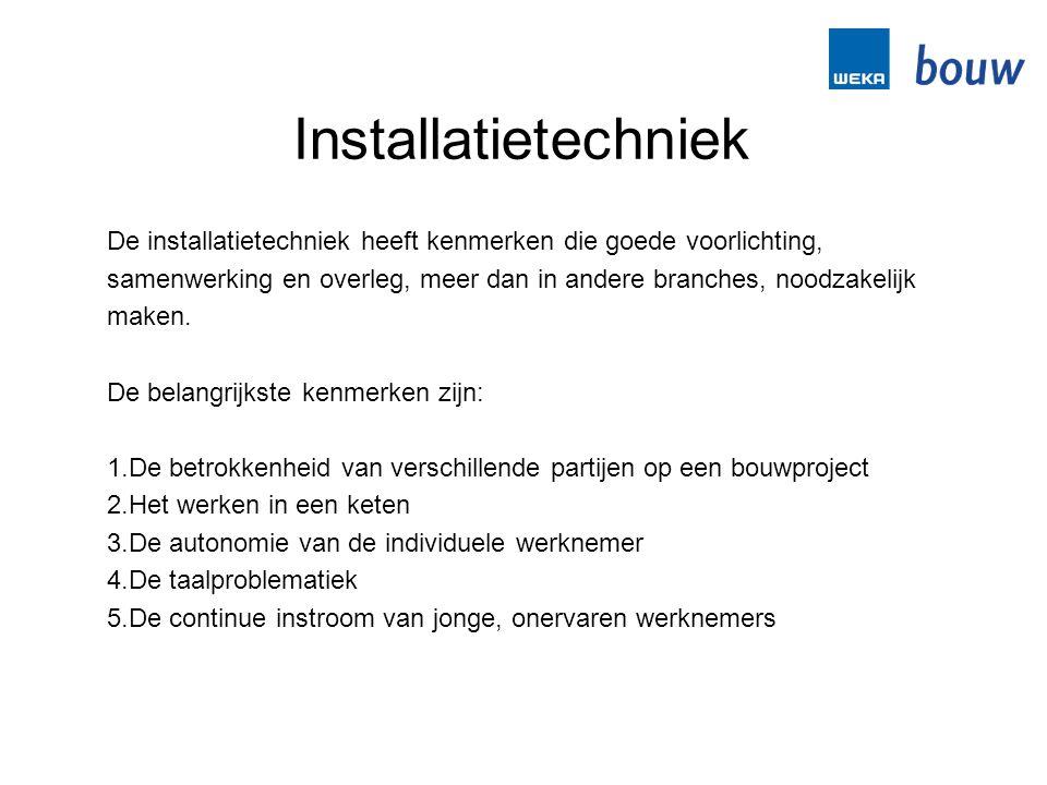 Installatietechniek De installatietechniek heeft kenmerken die goede voorlichting, samenwerking en overleg, meer dan in andere branches, noodzakelijk