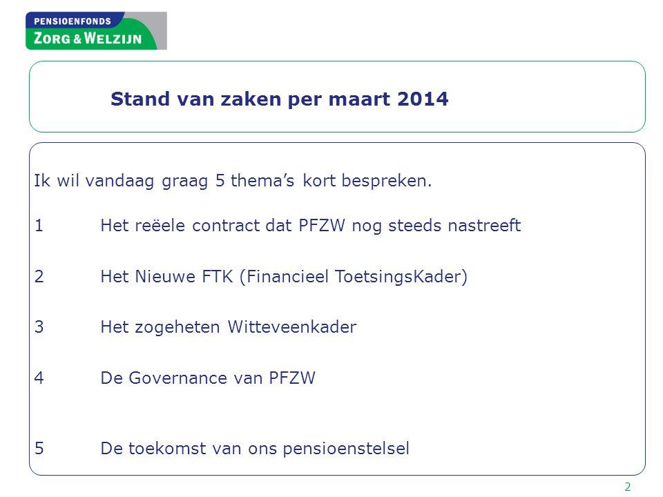 Stand van zaken per maart 2014 Ik wil vandaag graag 5 thema's kort bespreken. 1Het reëele contract dat PFZW nog steeds nastreeft 2Het Nieuwe FTK (Fina