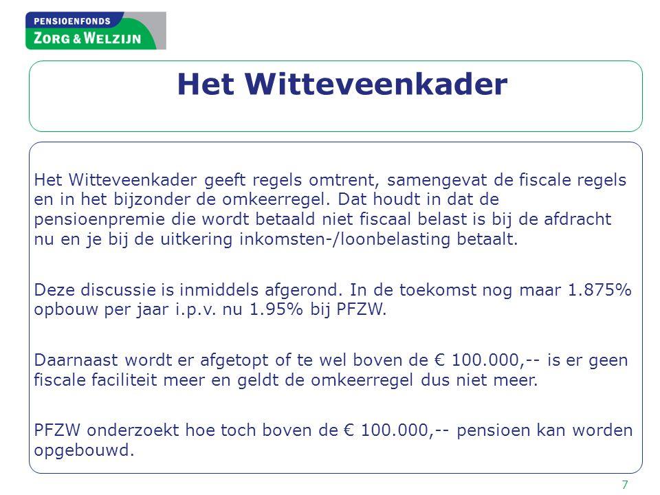 Het Witteveenkader Het Witteveenkader geeft regels omtrent, samengevat de fiscale regels en in het bijzonder de omkeerregel. Dat houdt in dat de pensi