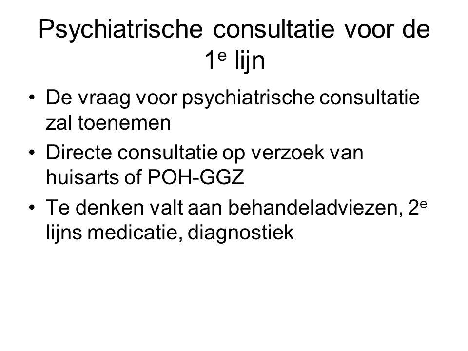 Psychiatrische consultatie voor de 1 e lijn •De vraag voor psychiatrische consultatie zal toenemen •Directe consultatie op verzoek van huisarts of POH