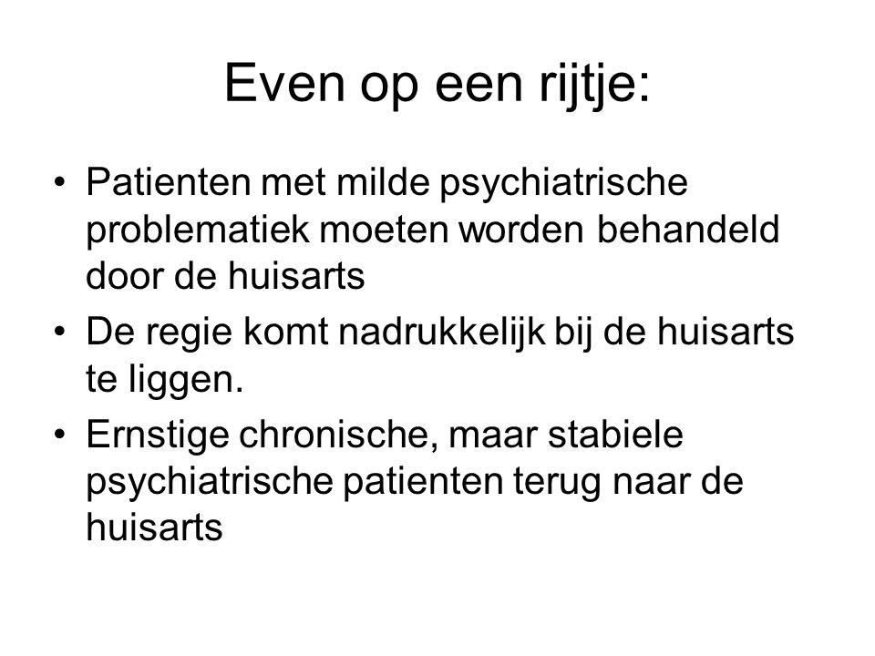 Even op een rijtje: •Patienten met milde psychiatrische problematiek moeten worden behandeld door de huisarts •De regie komt nadrukkelijk bij de huisa