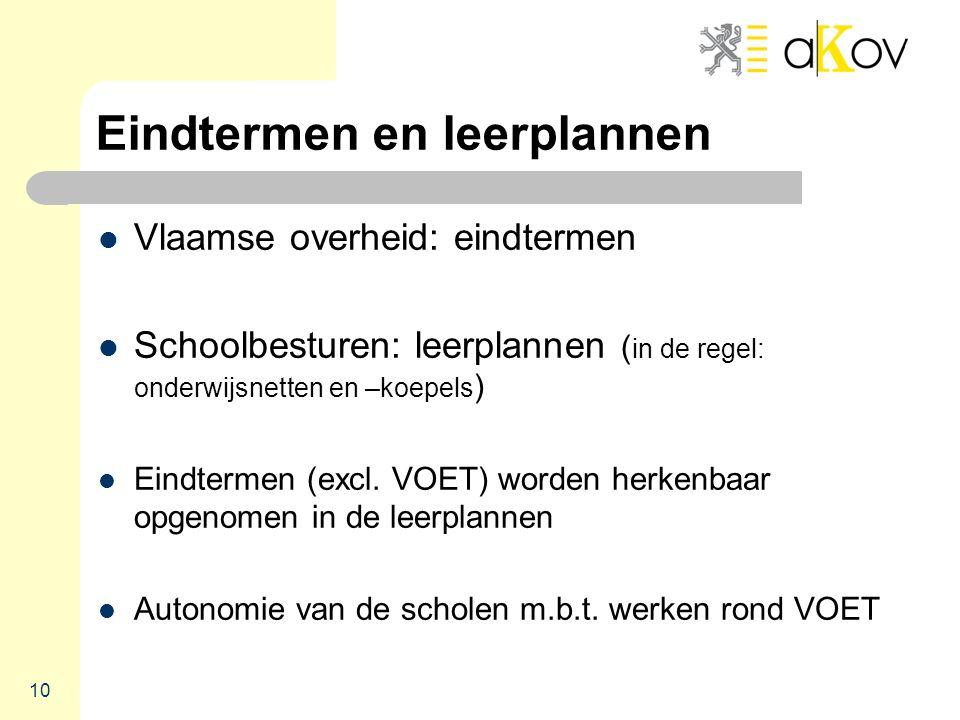 Eindtermen en leerplannen  Vlaamse overheid: eindtermen  Schoolbesturen: leerplannen ( in de regel: onderwijsnetten en –koepels )  Eindtermen (excl