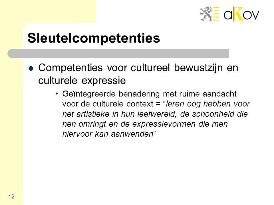 Sleutelcompetenties  Competenties voor cultureel bewustzijn en culturele expressie •Geïntegreerde benadering met ruime aandacht voor de culturele context = leren oog hebben voor het artistieke in hun leefwereld, de schoonheid die hen omringt en de expressievormen die men hiervoor kan aanwenden 12