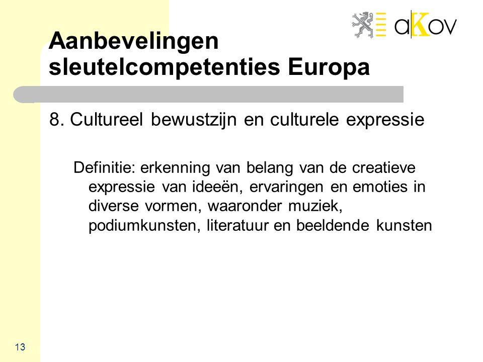 Aanbevelingen sleutelcompetenties Europa 8. Cultureel bewustzijn en culturele expressie Definitie: erkenning van belang van de creatieve expressie van