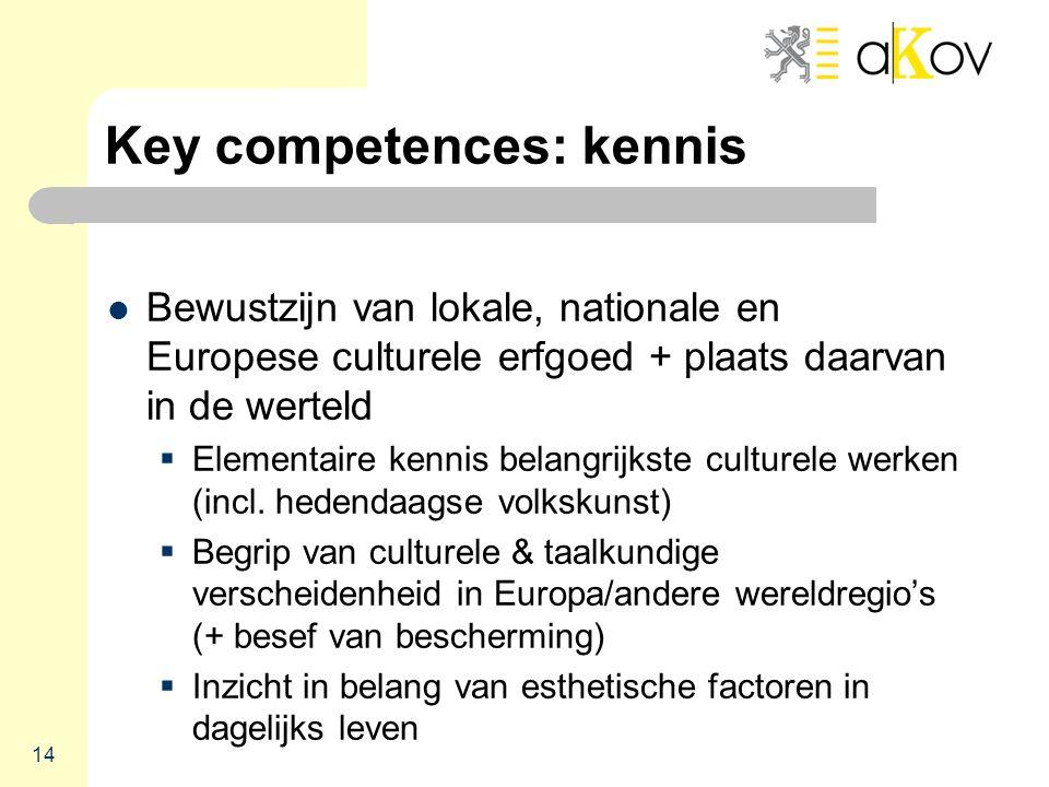 Key competences: kennis  Bewustzijn van lokale, nationale en Europese culturele erfgoed + plaats daarvan in de werteld  Elementaire kennis belangrijkste culturele werken (incl.