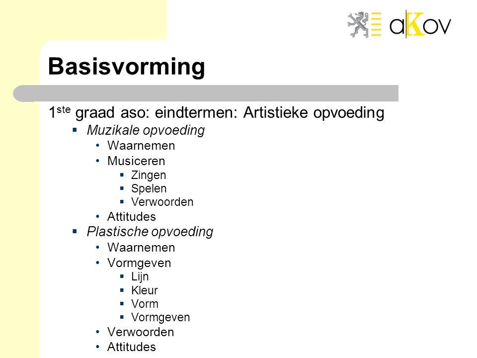 Basisvorming 1 ste graad aso: eindtermen: Artistieke opvoeding  Muzikale opvoeding •Waarnemen •Musiceren  Zingen  Spelen  Verwoorden •Attitudes 