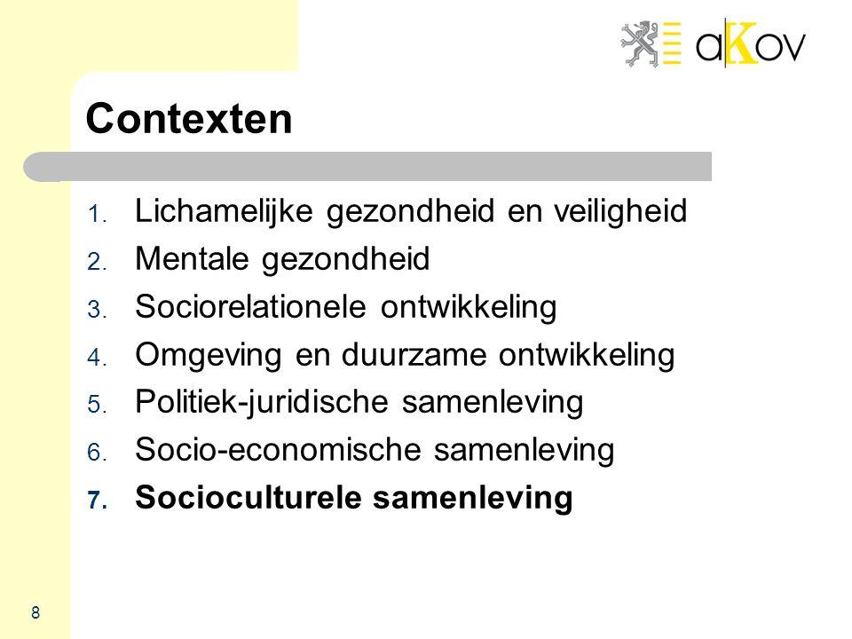 8 Contexten 1. Lichamelijke gezondheid en veiligheid 2. Mentale gezondheid 3. Sociorelationele ontwikkeling 4. Omgeving en duurzame ontwikkeling 5. Po