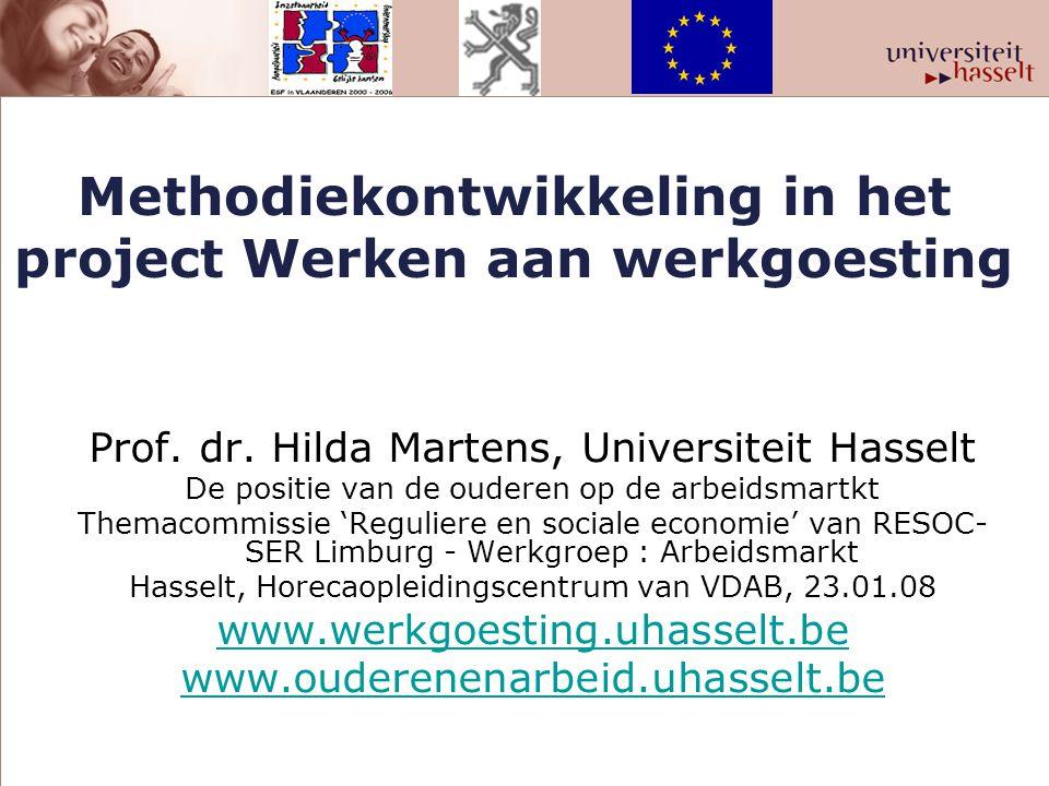 Vier groepen projecten 1.Zilveren processen en producten : Borealis, Umicore, Stad Hasselt, Provincie Limburg (ESF- project 2004-2006) 2.Werkgoesting in KMO's (ESF-project 2005-2007) 3.Diversiteit op de rails (ESF-project 2006-2007) 4.Casestudies in Carrefour, NMBS, De Post, FOD Financiën, FOD P & O, T-Interim, Philips, Masterfood, AND Steel, Velda Bedding, Isis, WTCM, Johnson Control, Fortis, IBM, HRM en mantelzorg, Bejaardenzorg Grauwzusters en Landelijke thuiszorg.