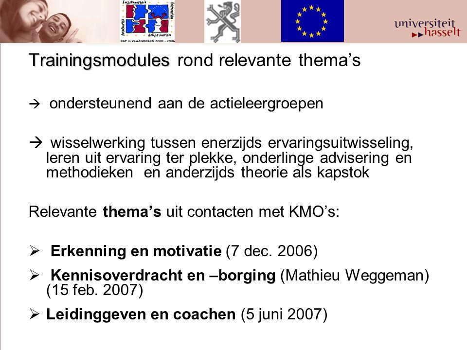 Trainingsmodules Trainingsmodules rond relevante thema's  ondersteunend aan de actieleergroepen  wisselwerking tussen enerzijds ervaringsuitwisselin