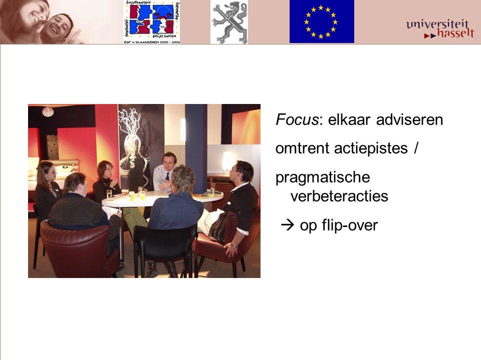 Focus: elkaar adviseren omtrent actiepistes / pragmatische verbeteracties  op flip-over