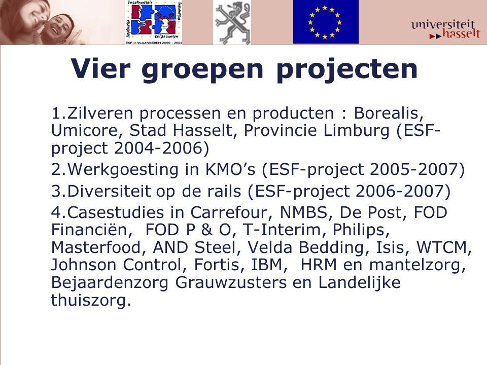 Vier groepen projecten 1.Zilveren processen en producten : Borealis, Umicore, Stad Hasselt, Provincie Limburg (ESF- project 2004-2006) 2.Werkgoesting