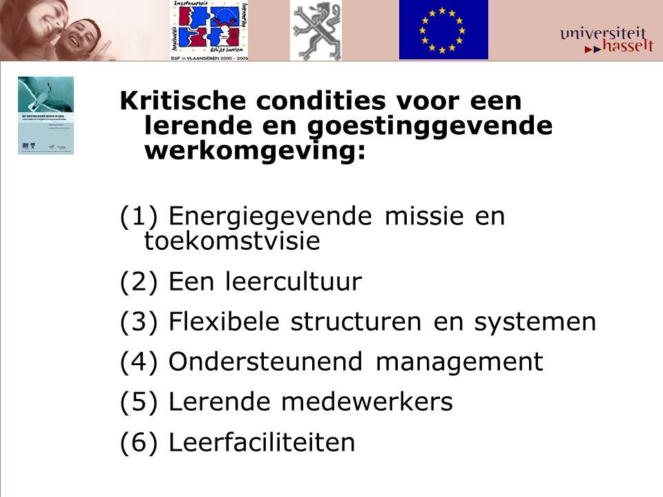Kritische condities voor een lerende en goestinggevende werkomgeving: (1) Energiegevende missie en toekomstvisie (2) Een leercultuur (3) Flexibele str