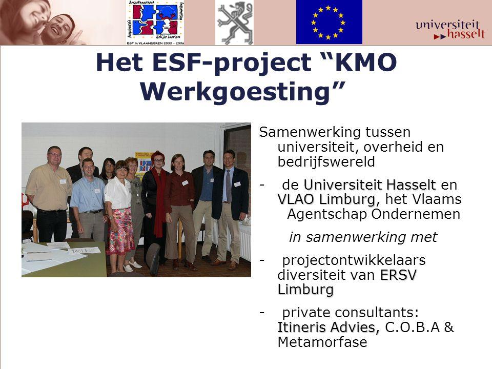 """Het ESF-project """"KMO Werkgoesting"""" Samenwerking tussen universiteit, overheid en bedrijfswereld Universiteit Hasselt VLAO Limburg - de Universiteit Ha"""