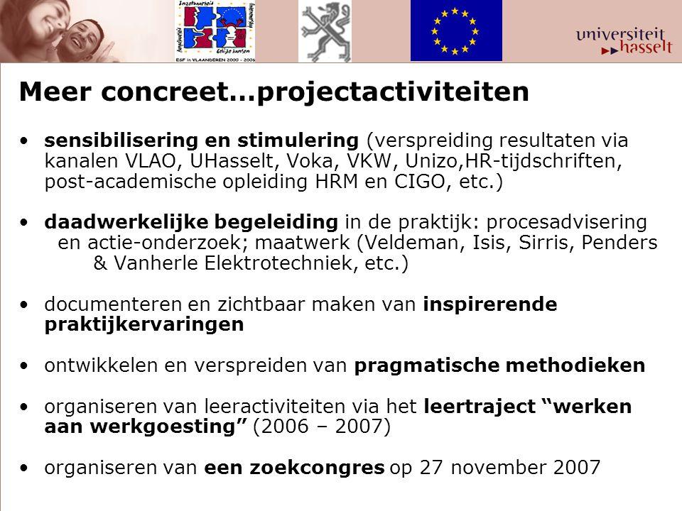 Meer concreet…projectactiviteiten •sensibilisering en stimulering (verspreiding resultaten via kanalen VLAO, UHasselt, Voka, VKW, Unizo,HR-tijdschrift