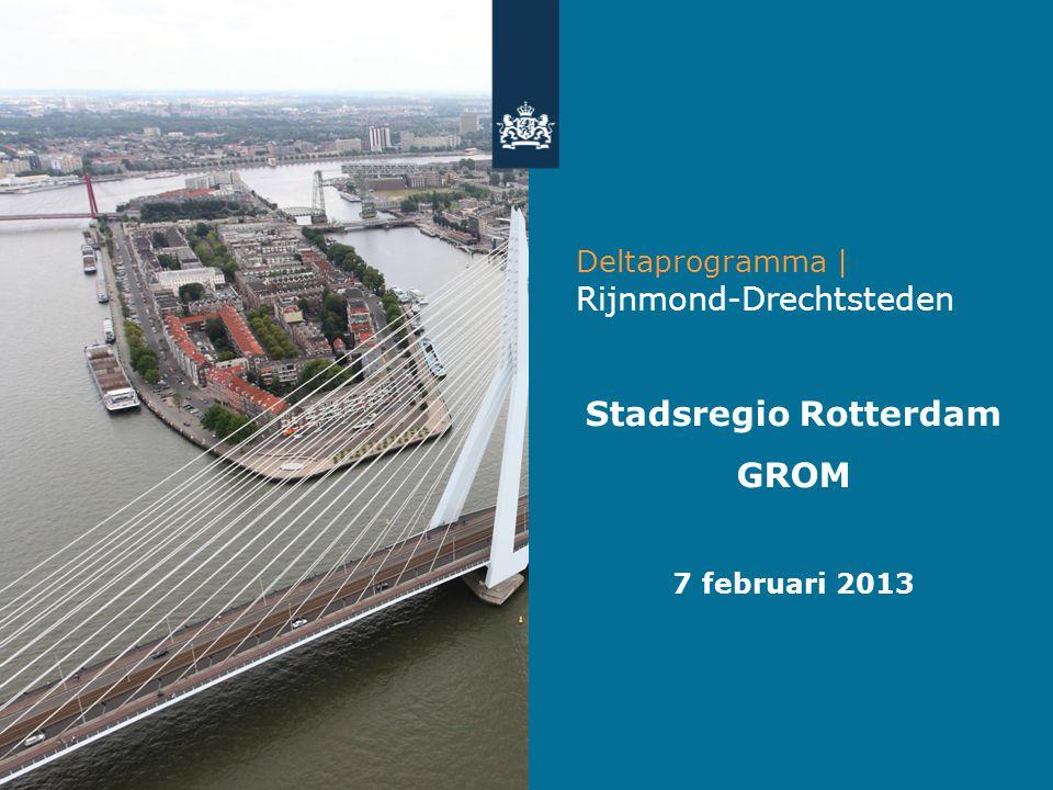 •Delen uitkomsten gebiedsuitwerkingen •Het gesprek aangaan •Input voor Stuurgroep Rijnmond-Drechtsteden 25 maart Doel presentatie Deltaprogramma l Rijnmond-Drechtsteden 2