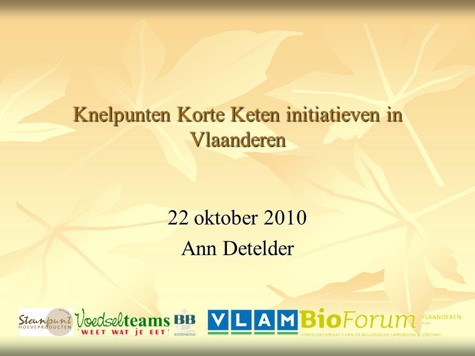 Knelpunten Korte Keten initiatieven in Vlaanderen 22 oktober 2010 Ann Detelder