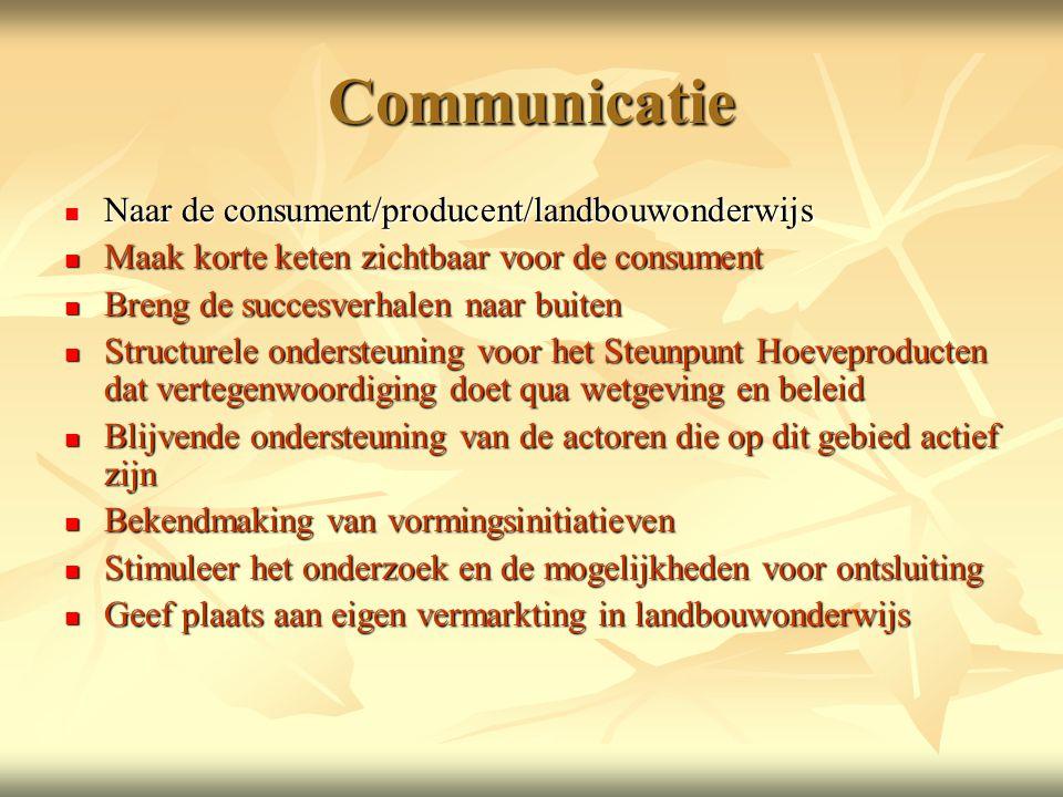 Communicatie  Naar de consument/producent/landbouwonderwijs  Maak korte keten zichtbaar voor de consument  Breng de succesverhalen naar buiten  Structurele ondersteuning voor het Steunpunt Hoeveproducten dat vertegenwoordiging doet qua wetgeving en beleid  Blijvende ondersteuning van de actoren die op dit gebied actief zijn  Bekendmaking van vormingsinitiatieven  Stimuleer het onderzoek en de mogelijkheden voor ontsluiting  Geef plaats aan eigen vermarkting in landbouwonderwijs