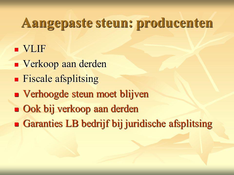 Aangepaste steun: producenten  VLIF  Verkoop aan derden  Fiscale afsplitsing  Verhoogde steun moet blijven  Ook bij verkoop aan derden  Garanties LB bedrijf bij juridische afsplitsing