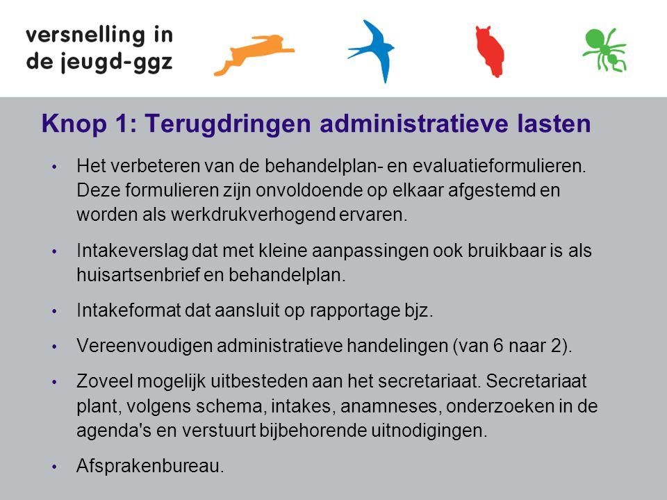 Knop 1: Terugdringen administratieve lasten • Het verbeteren van de behandelplan- en evaluatieformulieren. Deze formulieren zijn onvoldoende op elkaar