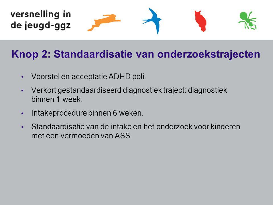 Knop 2: Standaardisatie van onderzoekstrajecten • Voorstel en acceptatie ADHD poli. • Verkort gestandaardiseerd diagnostiek traject: diagnostiek binne