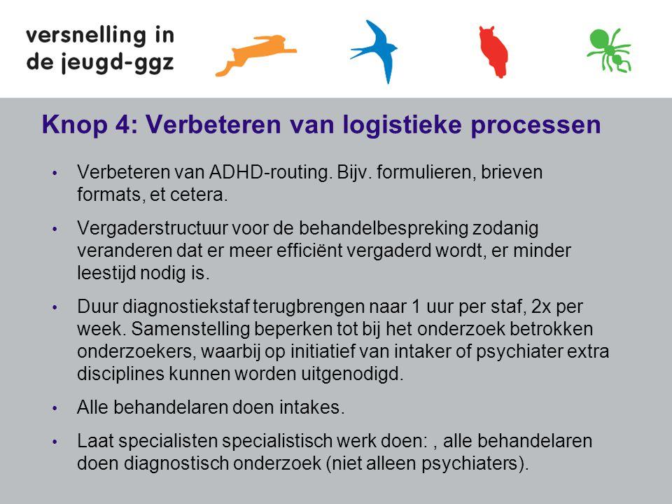 Knop 4: Verbeteren van logistieke processen • Verbeteren van ADHD-routing. Bijv. formulieren, brieven formats, et cetera. • Vergaderstructuur voor de