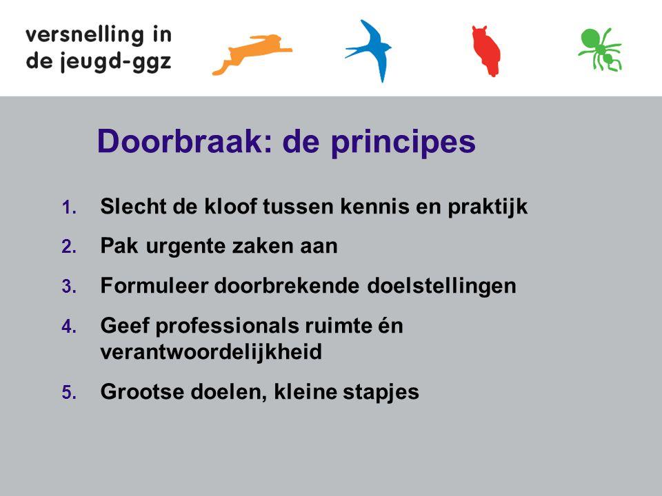 Doorbraak: de principes 1. Slecht de kloof tussen kennis en praktijk 2. Pak urgente zaken aan 3. Formuleer doorbrekende doelstellingen 4. Geef profess