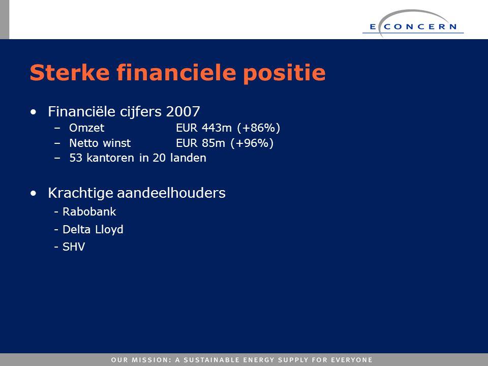 Sterke financiele positie •Financiële cijfers 2007 –Omzet EUR 443m (+86%) –Netto winstEUR 85m (+96%) –53 kantoren in 20 landen •Krachtige aandeelhoude