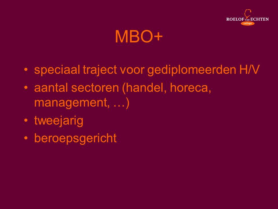 MBO+ •speciaal traject voor gediplomeerden H/V •aantal sectoren (handel, horeca, management, …) •tweejarig •beroepsgericht