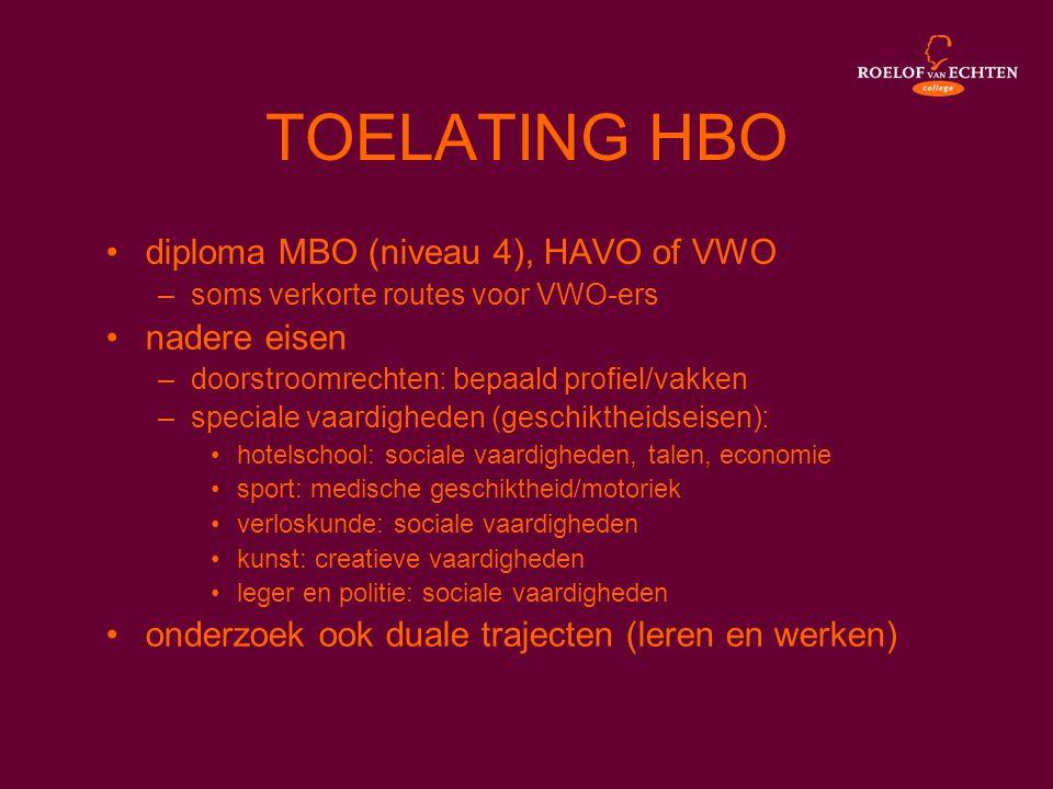TOELATING HBO •diploma MBO (niveau 4), HAVO of VWO –soms verkorte routes voor VWO-ers •nadere eisen –doorstroomrechten: bepaald profiel/vakken –specia