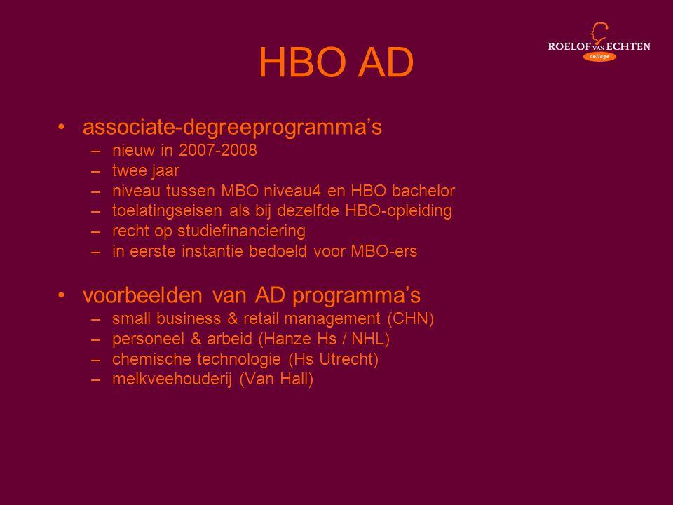 HBO AD •associate-degreeprogramma's –nieuw in 2007-2008 –twee jaar –niveau tussen MBO niveau4 en HBO bachelor –toelatingseisen als bij dezelfde HBO-op