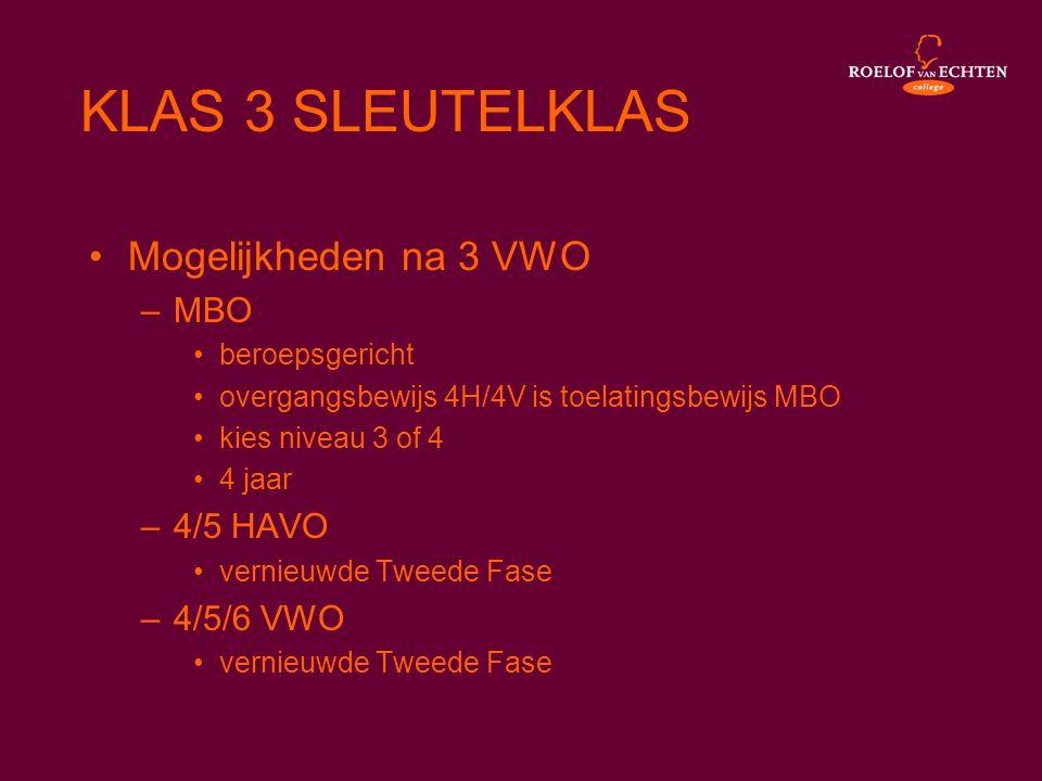 •Mogelijkheden na 3 VWO –MBO •beroepsgericht •overgangsbewijs 4H/4V is toelatingsbewijs MBO •kies niveau 3 of 4 •4 jaar –4/5 HAVO •vernieuwde Tweede F