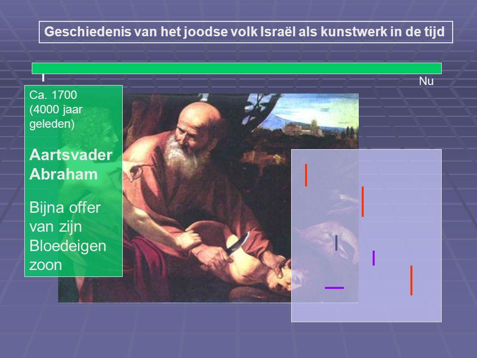 Nu (4000 jaar geleden) Abraham Bijna offer van zijn Bloed-eigen zoon (3500 jaar geleden) Profeet Mozes Bloed op hout van de deurposten Bevrijding uit slavernij JHWH spreekt vanuit een doornstruik Geschiedenis van het joodse volk Israël als kunstwerk in de tijd