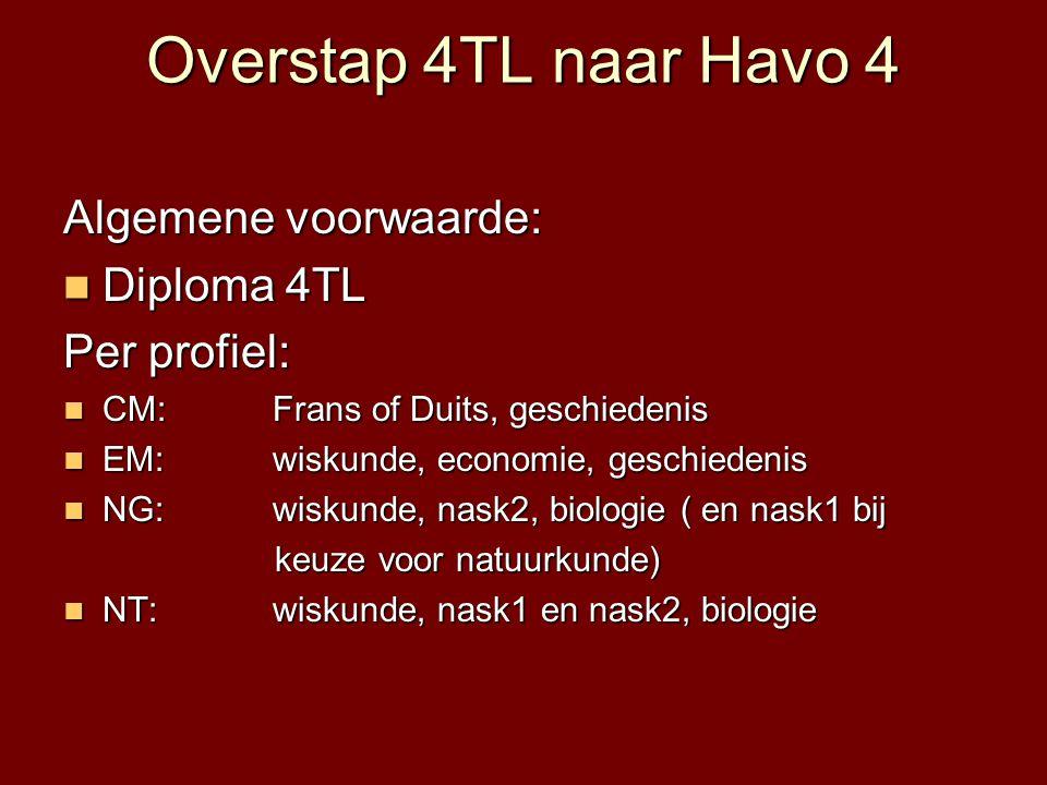 Overstap 4TL naar Havo 4 Algemene voorwaarde:  Diploma 4TL Per profiel:  CM: Frans of Duits, geschiedenis  EM: wiskunde, economie, geschiedenis  N